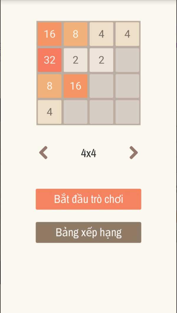 Chọn thể loại trong game 2048