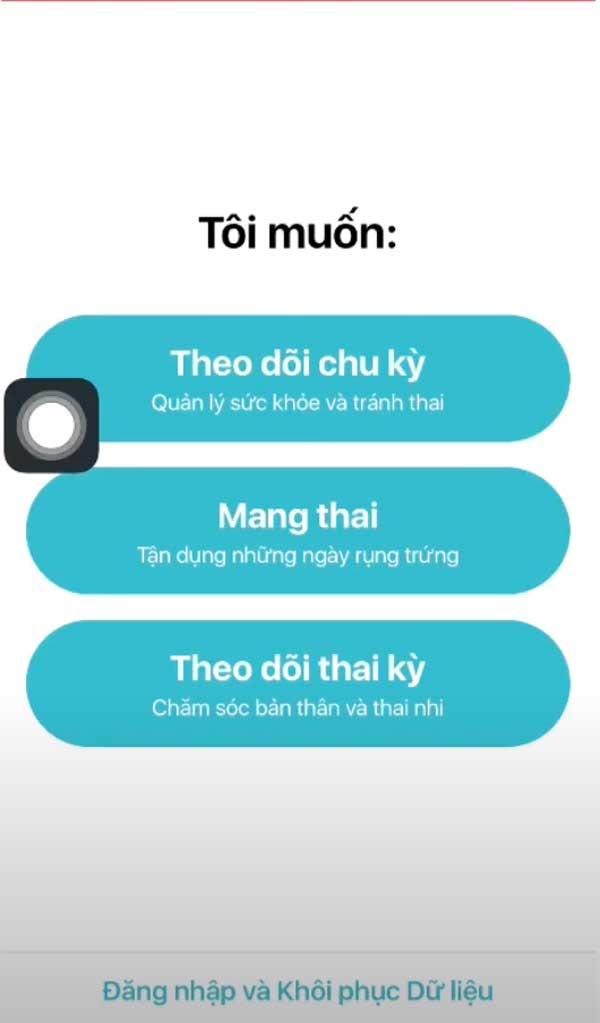 Giao diện app Flo: theo dõi chu kỳ kinh nguyệt